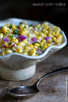 Sweet Corn Salsa just like Chipotle, from http://www.namelymarly.com/2013/08/sweet-corn-salsa/