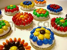 M & M's as Cupcake Decorations