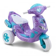 The Disney Frozen Electric Scooter is a purple, teal, and white ride-on featuring Frozen movie graphics, lights, and sounds.