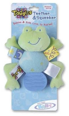 """Mary Meyer Taggies Teether (frog/turtle) by Mary Meyer. $8.99. Mary Meyer Baby is your exclusive source for Taggies® plush toys. Taggies® plush features an adaptation of the Taggies® blanket with looped ribbon tags. Soft pliable teethers sewn into frog and turtle. · Squeeze for squeaker. 5"""" long."""