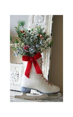 Christmas Ice Skate - Christmas wreath -Door decor -  vintage - Cottage - French Market - Winter skate - Country. $38.00, via Etsy.