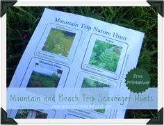 Mountain and Beach Scavenger Hunts {free printables} via Under God's Mighty Hand