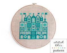 turquoise castle cross stitch pattern - diy - modern - nursery decor - pdf - instant download