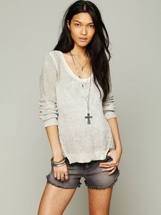 Free People Sprayed Crew Neck Pullover at Free People Clothing Boutique