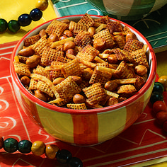 French's Simply Better Party Mix. Combine cereal squares, sesame nut mix, pretzels snaps, mixed nuts, Worcestershire sauce, melted butter or margarine with seasoned salt. #recipe #Frenchs #partyfood #snacks #gameday #quickbites