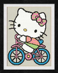 """Gráfico para punto de cruz de """"Hello Kitty en Bicicleta""""."""