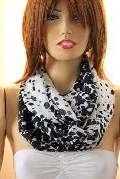 Black white infinity scarf. Loop scarf. Circle by oceanscarf, $18.90