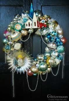 Christmas Wreath of Antique Ornaments -  You can now add Santa - Holiday Quotes & More to Your Photos right from your Phone? Check it out CLICK> Capturethemagic.com