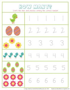 Easter number writing page printable