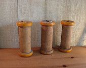 Four Vintage Wooden Textile Spools - Vintage Industrial  -    Upcycle, Repurpose. $15.50, via Etsy.