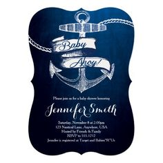 Baby Ahoy Baby Shower Invitations Celebrate the mom-to-be with these stylish and beautiful nautical themed invitations!