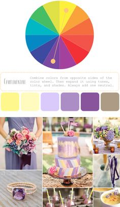 How to create a color palette. Great lesson. cake, color palett, yellow weddings, complimentary colors, purpl, ideasno dream, dream someday, colour board, complimentari color