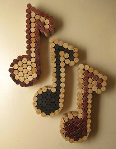 Wine Cork Music Notes - Cork Colored or Wine Colored made to order.