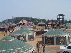 A yurt village - wouldn't it be fun to decorate the interiors?  #Yurts #Camping #Glamping