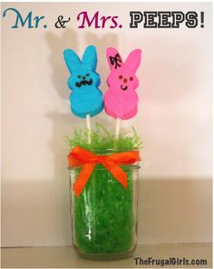 Mr. and Mrs. Peeps! {even Peeps love mustaches!} ~ from TheFrugalGirls.com #peeps #easter