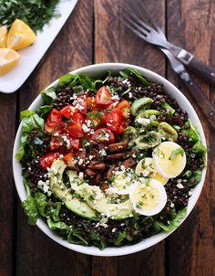 Vegetarian Cobb Salad Lentil Bowl by soupaddict #Salad #Lentils #Tempeh #Veggie