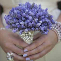 pretty purple bouquet, matching nails, and jewellery from graceloveslace.com