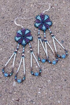 Teal, Plum and Aqua Porcupine Quill Earrings $23