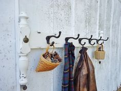 Antique Coat Rack or Towel Hooks  created from Antique Bed Salvage by KnickofTime