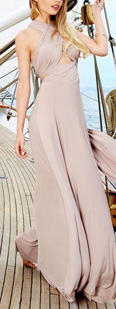 Taupe Halter Maxi Dress //