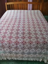 Silk Ecru Crochet Bedspread, 84 x 96 - Lovely vintage linens and more available at www.rubylane.com vintag linen, vintage linen