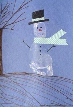 Snowman footprint craft for kids - Christmas crafts