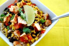 13 Healthy Burrito Bowl Recipes: Chipotle Copycat Chicken Burrito Bowls with Bell Pepper, Frozen Corn, Black Beans, Cooked Brown Rice burritos, bowl recip, chicken burrito, food, chipotle, eat, chipotl copycat, bowls, burrito bowl