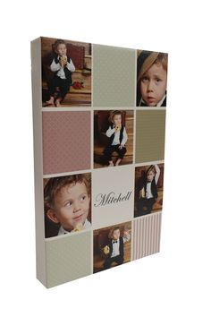 12-tile photo collage on canvas with child's photos, custom patterns and name