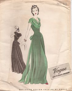 Vintage evening gown pattern with cowl neck, back peplum and a long flowing skirt. Vogue Couturier Design 216 #1930s #oldhollywood