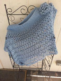 Lacey Trellis Asymetrical Poncho - free crochet pattern by Jennifer Uribe. One size fits all.