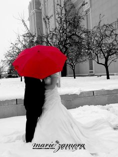 love the black and white with red umbrella!
