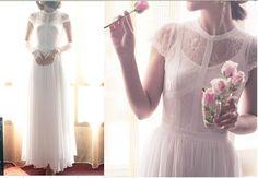 White Black Lace Wedding Dress Chiffon Dress Cap Sleeves Maxi Long Full Circle Bridesmaid Dress Beach Dress Sundress.