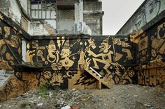 "#Bangkok #StreetArt - ""A gold-and-black mural in Bangkok inspired by the 'Ramakhien,' Thailand's national epic."" from the WSJ article, ""Street Art Invades Bangkok"" More info/view the gallery: http://blogs.wsj.com/searealtime/2013/03/05/street-art-invades-bangkok/"