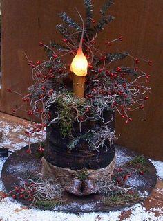 Primitive Christmas Snowman Hat Lamp