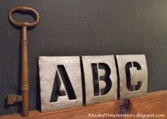 DIY Vintage Metal Stencils - A Restoration Hardware Knock-Off #letters #paint #faux