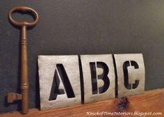 DIY Vintage Metal Stencils - A Restoration Hardware Knock-Off #letters #paint #faux