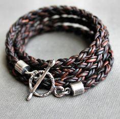 Wrap Bracelet Round Leather Braid Silver Rustic