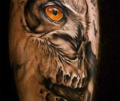 Illusion: Tattoo by Jeff Gogue.  http://illusion.scene360.com/news-community/owl/