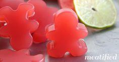 Sour Watermelon Homemade Gummies from http://meatified.com - just 4 ingredients or less! #paleo #gummies #glutenfree #gummysnack