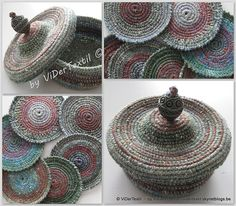 Free crochet pattern for Coasters and little basket with lid by Viviane Deroover - on Ravelry