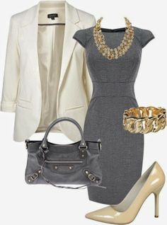 Gray classic work dress. #business attire. #womens fashion That is such an ugly purse though  See more http://worldcutefashion.blogspot.com/...