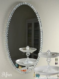 DiY~Glass bead mirror. Simple upgrade.