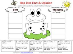 Free Fact & Opinion sorting activity...all about frogs...