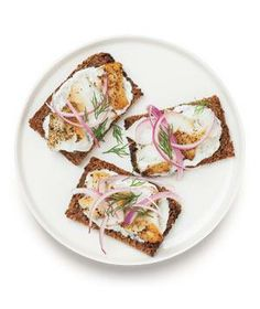 Open-Faced Bass Sandwich recipe: Combine yogurt, horseradish, and capers to make a quick and easy topping for fish sandwiches.