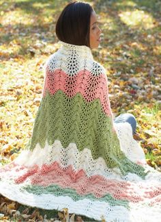 Wrap up in a melon ripple afghan this fall for an easy on-the-go blanket for fun outdoor activities.