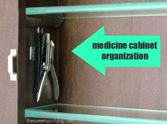 Medicine Cabinet Organization 'Trick' by The Sweet Spot Blog #diy #organization #reuse #bathroom spot blog, sweet spot, cabinet organization, bathroom designs, medicine cabinets, medicin cabinet, magnet