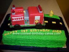 Fire Truck Cake fire truck birthday, birthday parti, truck cake, fire trucks, firetruck, birthday cakes