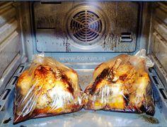 Pollos al papillote: Modo de cocinado: precalentamos el horno 15-20 minutos antes para que llegue la temperatura a 200º; introducimos los pollos condimentados en la bolsa cerrada y los dejamos 1 hora a 200; pasado el tiempo, paramos el horno y no lo abrimos para que no se pierda el calor, los dejamos 1 hora más para que reposen. La ventaja es que no ensucias prácticamente nada y luego lo puedes guardar en la nevera varios días para usar en ensaladas o salteados. ¡Palabra de pollo!