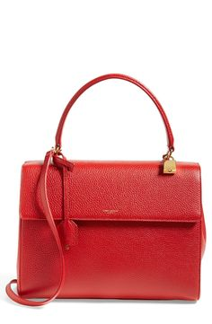 Trending for fall! Red hot Saint Laurent leather satchel.