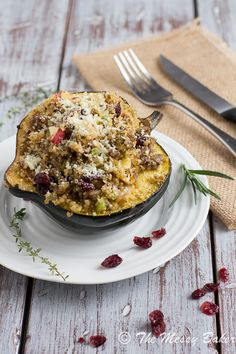 Sausage & Quinoa Stuffed Acorn Squash from The Messy Baker